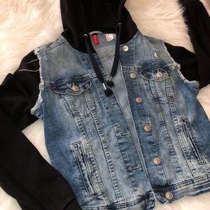 H&M Distressed Denim Hooded Jacket (TEEN GIRLS)